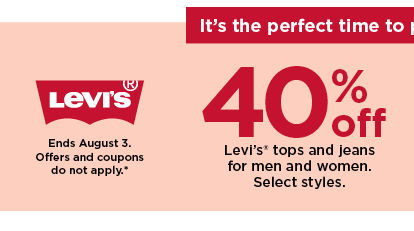 40% off levi's tops and jeans for men and women. offers and coupons do not apply. shop now.