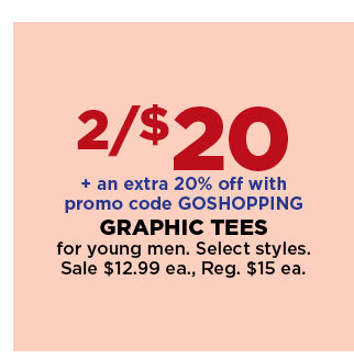2 for $20 plus an extra 20% off with promo code GOSHOPPING select graphic tees for young men. sale $12.99 each. shop now.