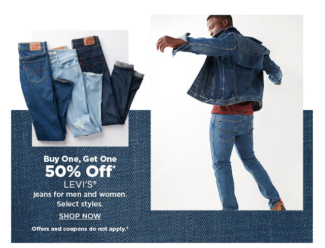 buy one get one 50% off levis jeans for men and women. shop now.
