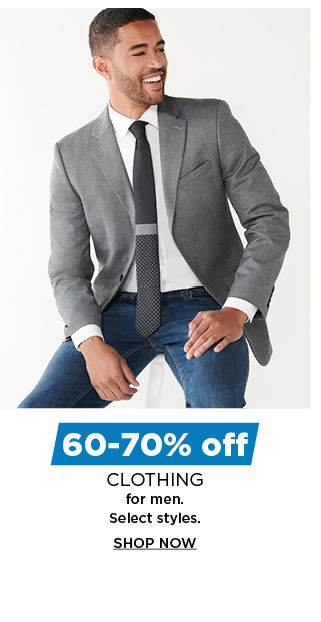60 to 70% off clothing for men. shop now.